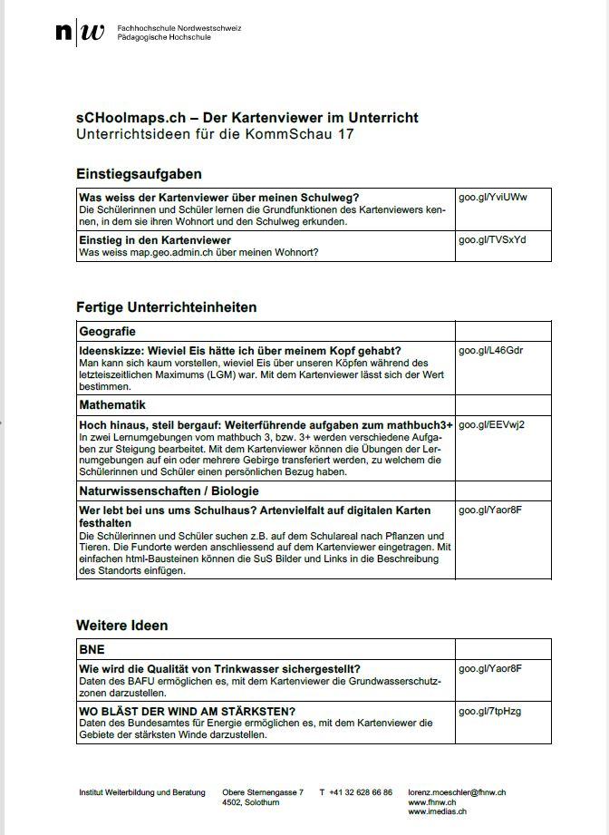 Kurzeinstieg in die Unterrichtseinheiten auf sCHoolmaps.ch ...